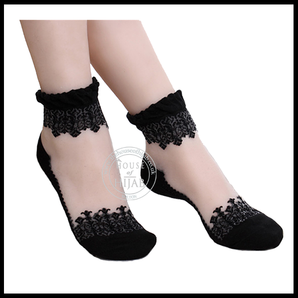 Ankle Socks Transparent Crystal Lace