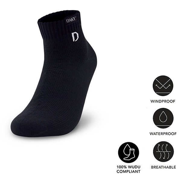 PHANTOM Y - OVER ANKLE WATERPROOF & BREATHABLE PERFORMANCE BLACK SOCKS