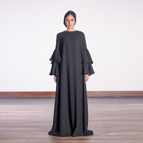 BLACK TIER SLEEVE ABAYA DRESS