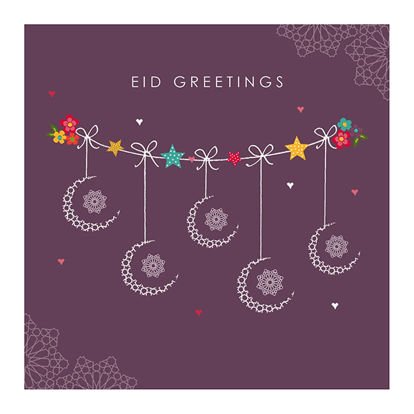 Eid Greetings - Hello Eid - Mauve Crescents