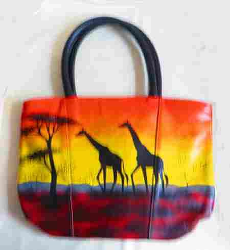 sunset giraffe leather bag, leather african bag, handmadee fair trade bags