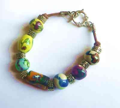 Chunky ceramic bead bracelet, glass handmade bracelet