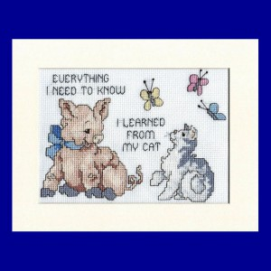Pig Picture: Pig 'everything I need to know I learned from my cat' in Cross Stitch
