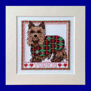 Dog Picture: Yorkshire Terrier 'wearing his tartan jacket' in Cross Stitch
