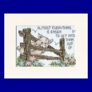Pig Picture: Pig 'stuck in the fence' in Cross Stitch