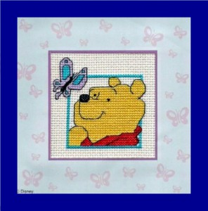 Children's Card/Picture: Winnie the Pooh 'with a butterfly' in Cross Stitch