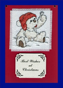Teddy ~ Christmas Card in Cross Stitch