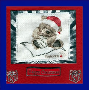 Popcorn Bear ~ Christmas Card in Cross Stitch