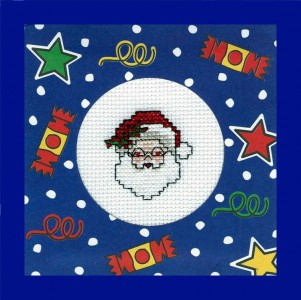 Traditional Father Christmas ~ Christmas Card in Cross Stitch