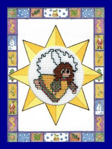 Christmas Star ~ Christmas Card in Cross Stitch