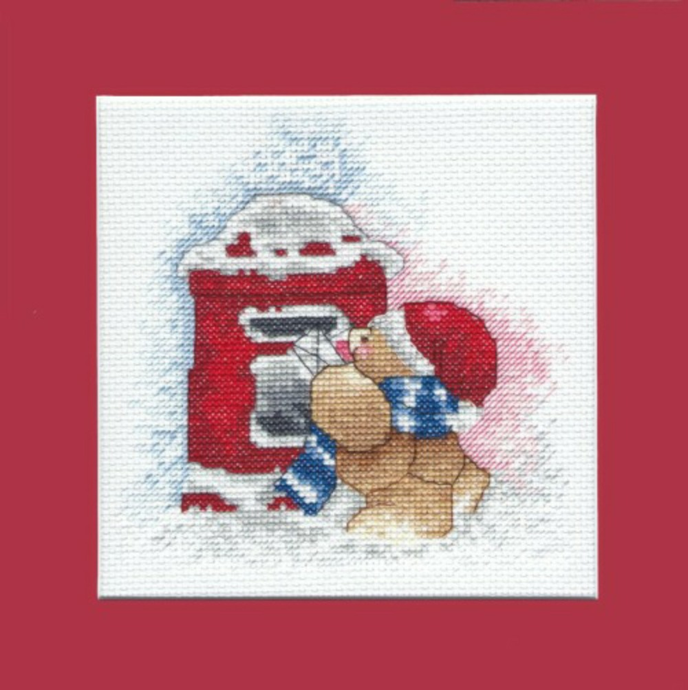 Teddy 'posting his cards' ~ Christmas Picture in Cross Stitch
