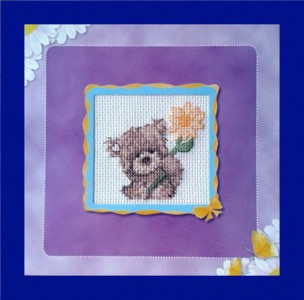 Popcorn Bear Card: Popcorn 'with  a big yellow flower' in Cross Stitch