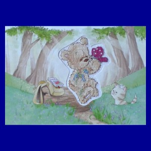 Teddy Card: Teddy 'with a butterfly' in Cross Stitch