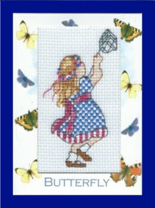 Blank Card ~ Little Girl 'with a butterfly'