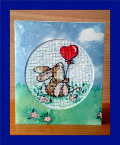 Rabbit Card: Rabbit 'with a big heart balloon' in Cross Stitch
