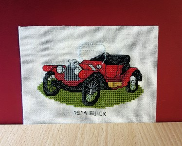 Men's Card: Vintage Car '1914 Buick' in Cross Stitch