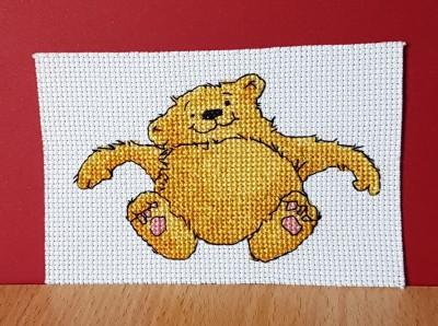 Cat Card: Cat 'tickle my tummy' in Cross Stitch