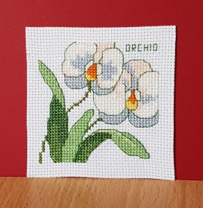 Orchid ~ Flower Card in Cross Stitch