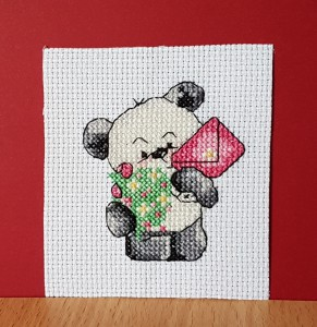 Teddy Card: Teddy 'with a letter' in Cross Stitch