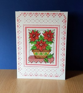Poinsettia ~ Christmas Card in Cross Stitch