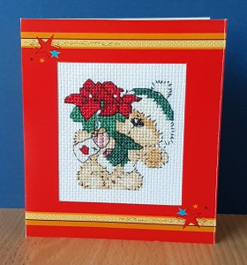 Teddy 'With a Poinsettia' ~ Christmas Card in Cross Stitch