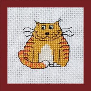 Cat Card: Cat 'with attitude!' in Cross Stitch