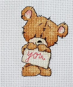 Teddy 'with a letter for you' ~ Blank Card in Cross Stitch