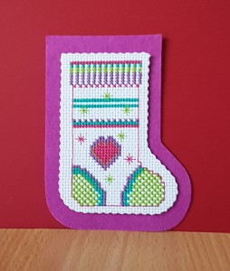 Christmas Card: 'Christmas sock' in Cross Stitch