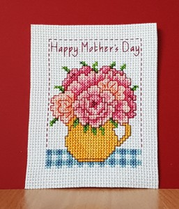 Mother's Day Card: 'flowers in a jug' in Cross Stitch