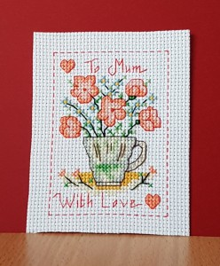 Mother's Day Card: 'cupful of flowers' in Cross Stitch