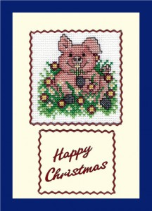 Pig Christmas Card: Pig 'sitting in a Christmas wreath' in Cross Stitch