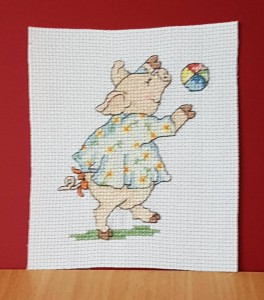 Pig Card: Pig 'playing with a ball' in Cross Stitch
