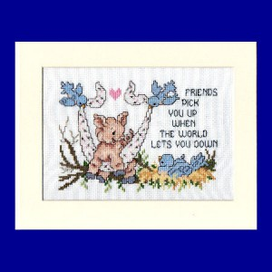 Pig Picture: Pig 'friends pick you up when the world let's you down' in Cross Stitch