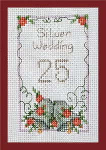 Anniversary Card: Silver Wedding '25 Years' in Cross Stitch