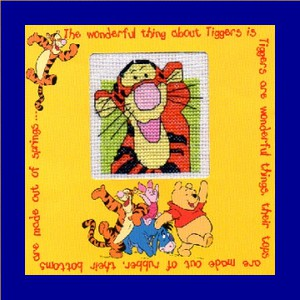 Children's Card/Picture: Tigger 'with friends' in Cross Stitch