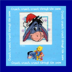 Children's Card/Picture: Eeyore 'wearing his Christmas hat' in Cross Stitch