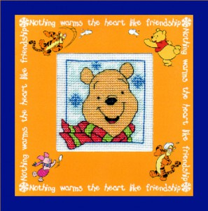Children's Card/Picture: Winnie the Pooh 'wearing his scarf' in Cross Stitch