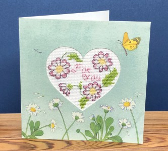 Heart Flower Card: 'just for you' in Cross Stitch
