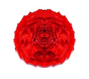 RED SATIN CARNATION BUTTONHOLE - REGULAR SIZE