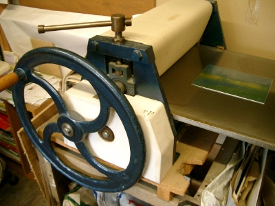 Etching press with plate